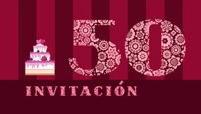 Invitation to the celebration, 50 years, berry cake, Spanish, vector. royalty free stock images