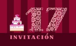 Invitation to the celebration, 17 years old, berry cake, Spanish, vector. Color card with the number 17 on the Burgundy striped field. The inscription in Spanish vector illustration