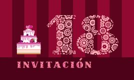 Invitation to the celebration, 18 years old, berry cake, Spanish, vector. Color card with the number 18 on the Burgundy striped field. The inscription in Spanish stock illustration