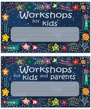 Invitation to children`s lessons and creative pursuits. Vector illustration. Vector color flyer with the image of stars and comets in the style of children`s Stock Photography
