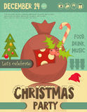 Invitation to Christmas party. Bag with Gifts on Snowy Background. Retro Style. Vector Illustrations Stock Image