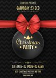 Invitation to a Christmas party. Black ball with a red ribbon on a black background with a pattern. The names of the DJ. And club. Gold text on a dark Stock Photos