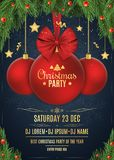 Invitation to a Christmas party. Christmas concept. Red ball with red ribbon on a dark blue background with snowflakes. Fir tree a. Nd snow berries. DJ and club Stock Image