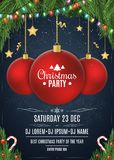 Invitation to a Christmas party. Red ball on beads. Christmas concept from fir tree, snow berries, gold stars and lollipops. White. Text. Multicolored luminous Stock Photo