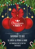 Invitation to a Christmas party. Red ball with a bow of tape. Christmas concept from fir tree, snow berries, gold stars and lollip. Ops. White text. Multicolored Royalty Free Stock Images