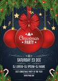 Invitation to a Christmas party. Red ball with a bow of tape. Christmas concept from fir tree, snow berries, gold stars and lollip. Ops. White text. The names of Royalty Free Stock Images