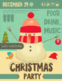 Invitation to Christmas party. Snowman on Snowy Background. Retro Style. Vector Illustrations Stock Photo