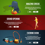 Invitation to the circus magic show. Three horizontal vector banners set in cartoon style stock illustration