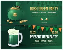 Invitation to feast day of St. Patrick. Leaflet with picture of pint of beer with white foam. Banner with green pot and Leprechaun hat, gold coins and gold Royalty Free Stock Photo