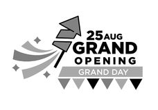 Invitation to grand opening ceremony on 25 August with fireworks rockets Royalty Free Stock Images