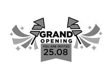 Invitation to grand opening ceremony monochrome isolated illustration. Invitation to grand opening ceremony on 25 August with fireworks rockets and big thick Stock Photography