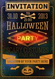 Invitation to halloween party with bats, bones,. Invitation to halloween party with bats, bones and pumpkins. With place for your text of party location. Vector Stock Images