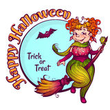 Invitation to Halloween party with fun witch on a Royalty Free Stock Photos