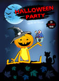 Invitation to a Halloween party, funny pumpkin in a hat with Cake. Stock Photo