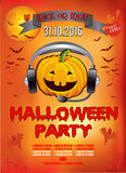 Invitation to a Halloween party, pumpkin DJ, illustration, poster. Royalty Free Stock Photo
