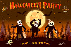 Invitation to a Halloween party, the three zombies horizontal illustration, poster. Royalty Free Stock Photography