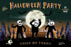 Invitation to a Halloween party, the three zombies horizontal illustration. Stock Photo