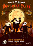 Invitation to a Halloween party, the three zombies, vertical illustration. Royalty Free Stock Photo
