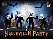 Invitation to a Halloween party, zombies are on the road. Royalty Free Stock Image