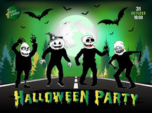 Invitation to a Halloween party, zombies are on the road. Stock Photos