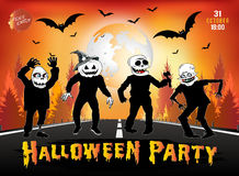 Invitation to a Halloween party, zombies are on the road. Royalty Free Stock Photo