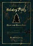 Invitation to a holiday party. Marble background. Invitation to a holiday party. Green marble background and gold text. Christmas design template for banner Stock Image