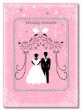 Invitation to the Huppah. Pink invitation to a Jewish wedding. Bride and groom Stock Photo