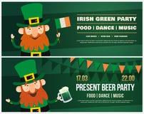 Invitation to Irish holiday of St. Patrick. Funny cartoon Leprechaun with an Irish flag and pint of beer Stock Photos