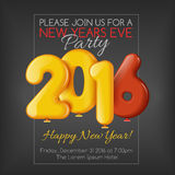 Invitation to New Year party with balloons. Invitation flyer for the party. Holiday card dedicated to the Christmas and New Year 2016. 3D Air balls, yellow and Stock Illustration