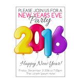 Invitation to New Year party with color balloons Stock Photography