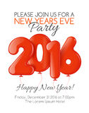 Invitation to New Year party with red balloons Stock Images