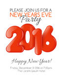 Invitation to New Year party with red balloons Royalty Free Stock Image