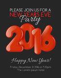 Invitation to New Year party with red balloons Stock Image