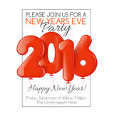 Invitation to New Year party with red balloons Royalty Free Stock Photography