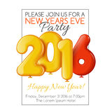 Invitation to New Year's party with balloons Stock Photography