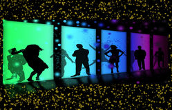 Invitation to a party. Bright abstract background. Silhouettes of merry men. Night life Royalty Free Stock Photo