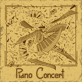 Invitation to piano concert. Invitation or flyer to piano concert with keyboards  on a vintage background Stock Photography