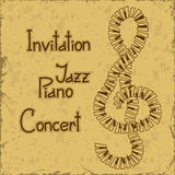 Invitation to piano concert. On a vintage background Stock Photos