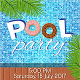 Invitation to pool party. Creative modern flat design invitation to pool party. Sample text, copyspace royalty free illustration