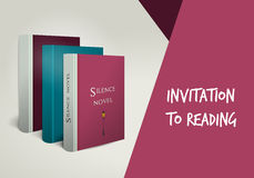 Invitation to reading card. Library design templat Stock Photo