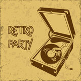Invitation to retro party with gramophone Stock Image
