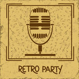 Invitation to retro party with microphone Royalty Free Stock Photography