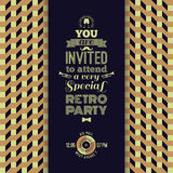 Invitation to retro party. Vintage retro geometric background. Royalty Free Stock Images