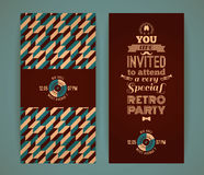 Invitation to retro party. Vintage retro geometric background. Royalty Free Stock Photo