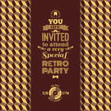 Invitation to retro party. Vintage retro geometric background. Royalty Free Stock Photography