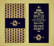 Invitation to retro party. Vintage retro geometric background. Stock Photography