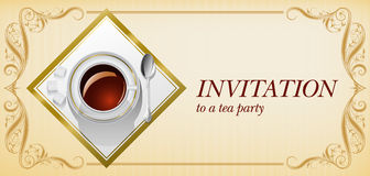Invitation to tea party. Stylish background for invitation to a tea party whith very realistic teacup and vintage border. All elemets of this illustration you vector illustration