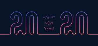 Free Invitation To The New Year Party 20 20. Cover Of Calendar With Orginal Neon Inscription 2020. Poster Template. Modern Gradiet. Stock Photo - 164847520