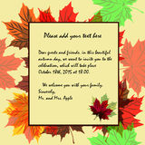 Invitation to the theme of autumn and autumn holidays in rich co Royalty Free Stock Photography