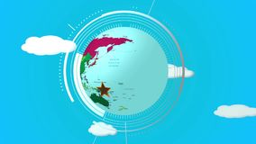 Invitation to travel. Animated rotating globe with invitation to travel stock video